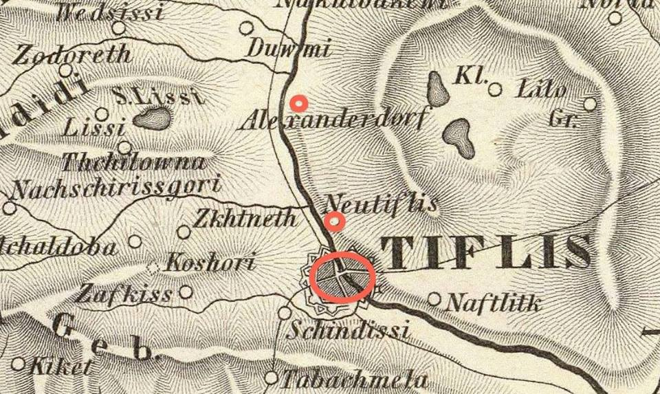 Alexanderdorf and Neutiflis on the Map of Georgia